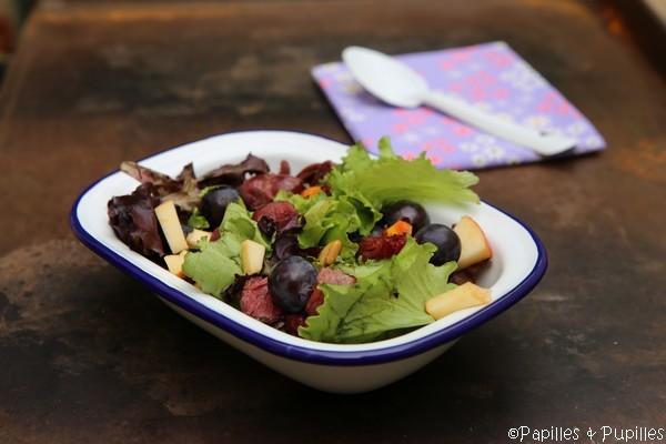 Salade magret gésiers raisins et pomme reinette