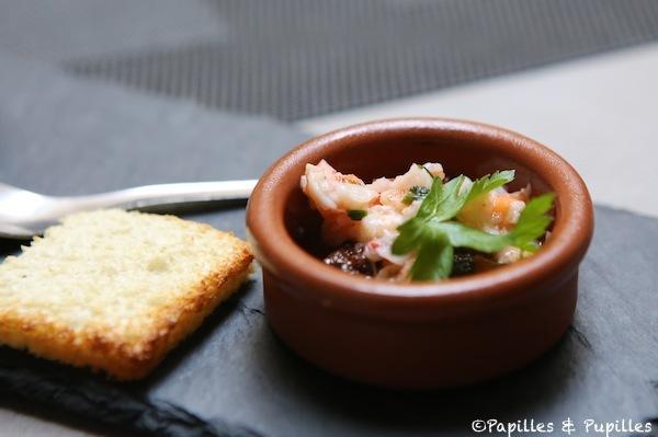 Mise en bouche tartare de crevettes
