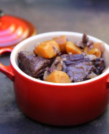 Boeuf Bourguignon aux champignons et carottes