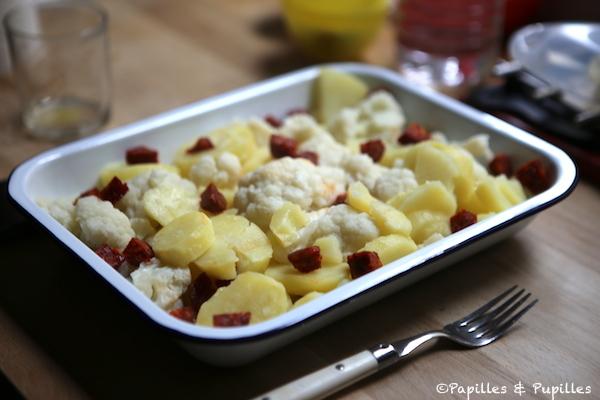 Chou fleur chorizo et pommes de terre