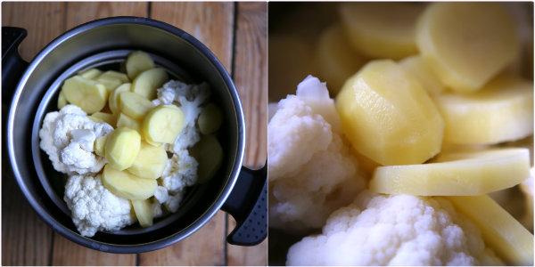 Chou fleur et pommes de terre - Version crue et version cuite