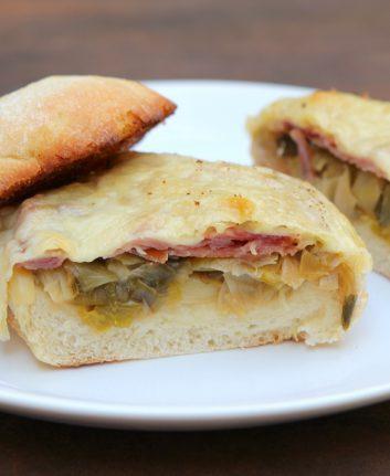 Sandwiches au Comté, jambon cru et poireaux