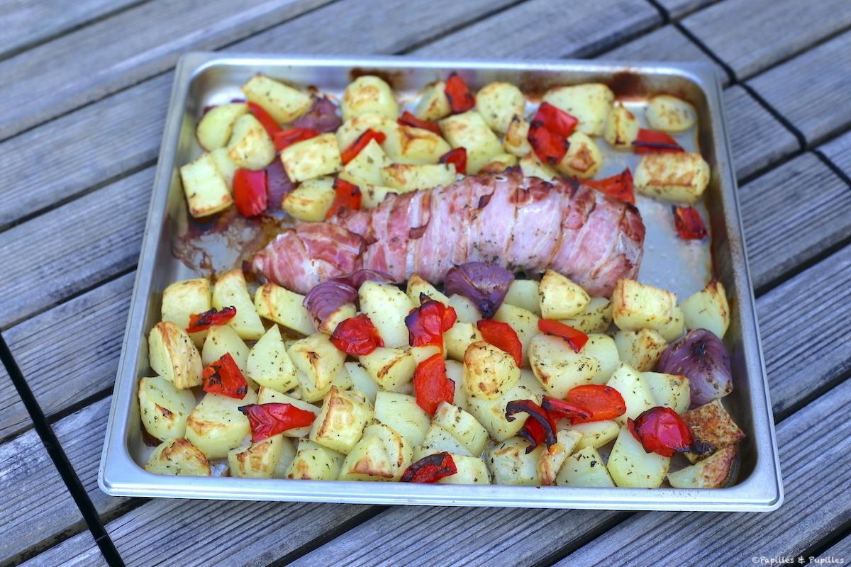 Filet mignon au four, lard fumé et pommes de terre