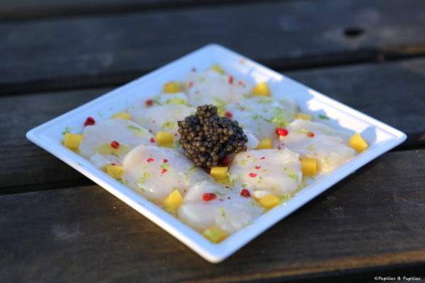 Carpaccio de Saint Jacques au caviar et mangue