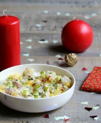 Tartare de bar à la mangue, pomme granny et gingembre ©AnneLataillade