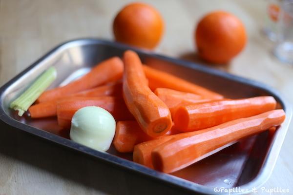 Carottes, oignon, céleri, oranges