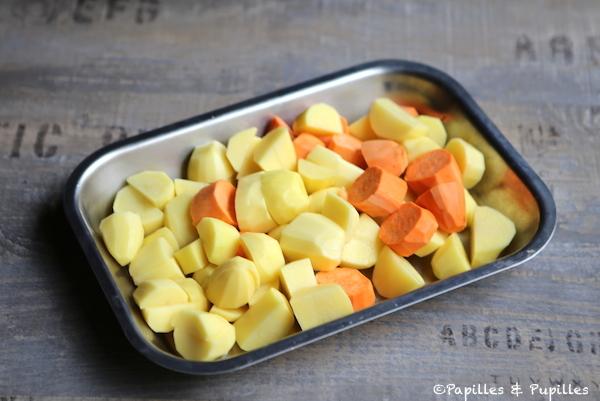Cubes de pommes de terre et patates douces