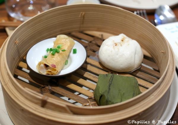 Feuille de soja caillée avec morue fraîche - Bouchée vapeur au canard et Feuille de lotus avec poitrine de veau braisée et riz gluant