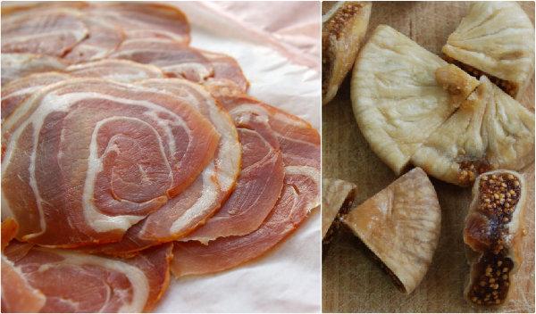 Pancetta et figues séchées