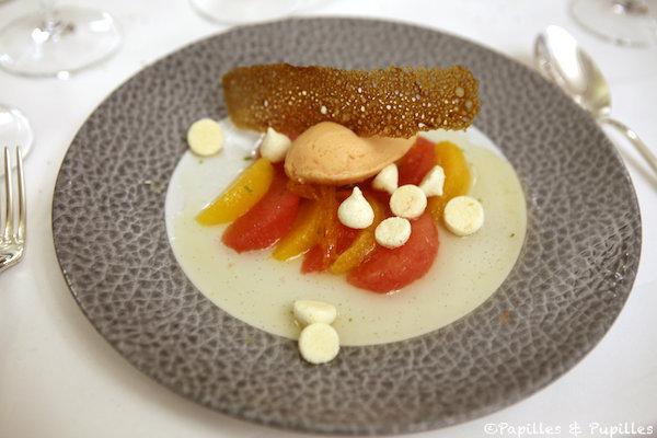 La salade d'Agrumes à la vanille, tuile a l'orange, sorbet orange sanguine