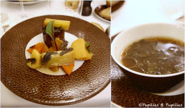 Le Compressé d'Aubrac, légumes al dente, os à moelle, petit bouillon aux truffes