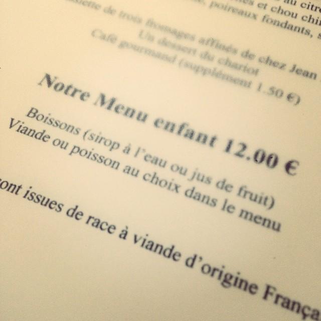 Un menu enfant intelligent au Gabriel #Bordeaux (viande ou poisson dans le menu) #suivezleguide #guidemichelin