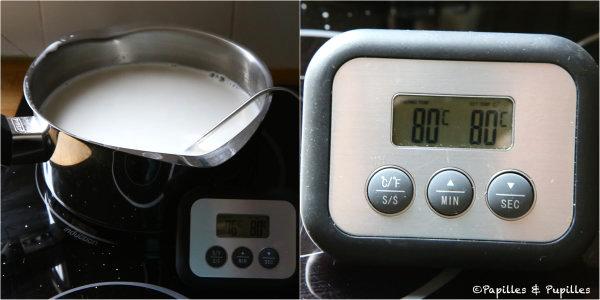 Portez le lait à la température de 80 degrés