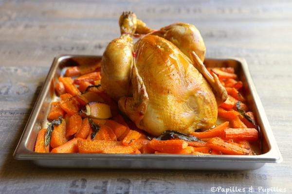 Poulet aux carottes citron et ail des ours