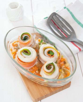 Roulés poireaux carottes au merlan