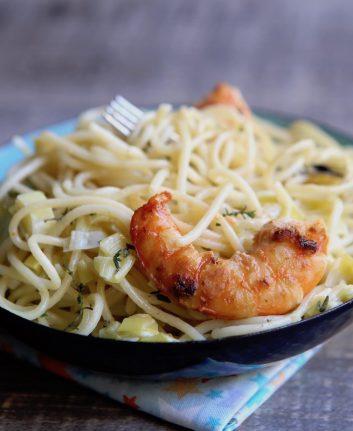 Spaghetti aux gambas et aux poireaux