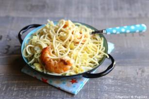 Spaghettis, gambas et poireaux