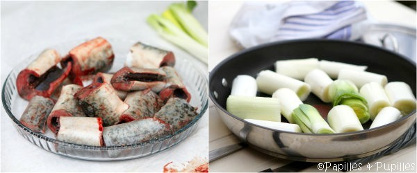 Tronçons de lamproie et de poireaux