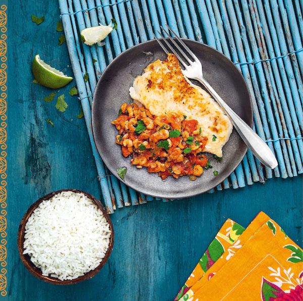 Filet de merlan, sauce crevette et tomate
