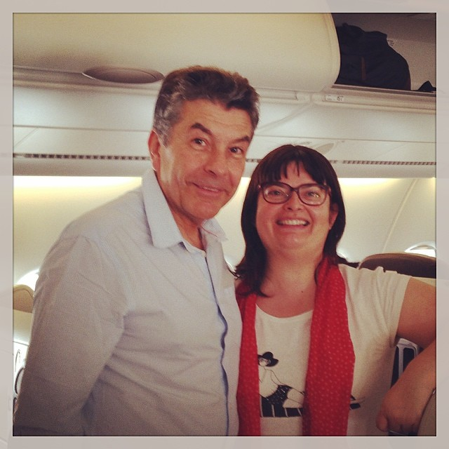 Avec the wondeful Régis Marcon - on rentre à Paris en A 380 #airfrance -11h40 de vol - youhou