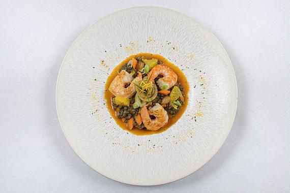 Ragoût de lentilles vertes du Puy aux crevettes ©Patrick Delapierre
