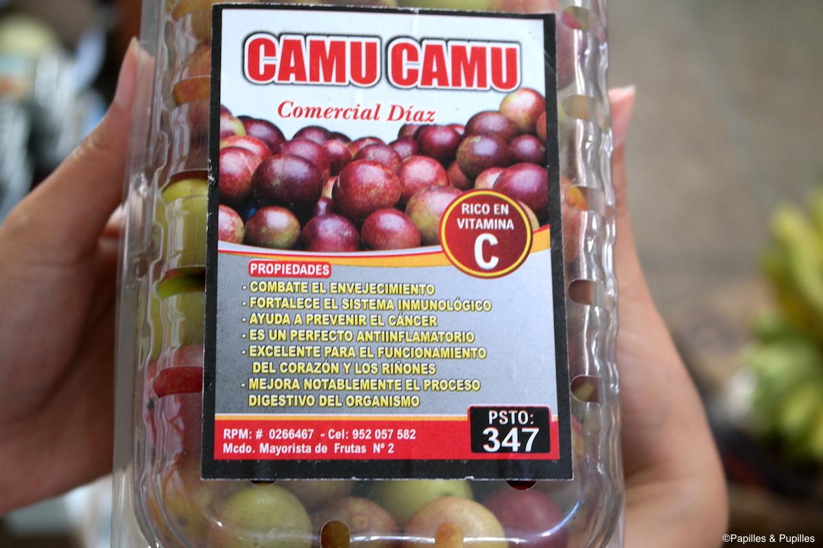 Boite de camu camu, marché de Lima