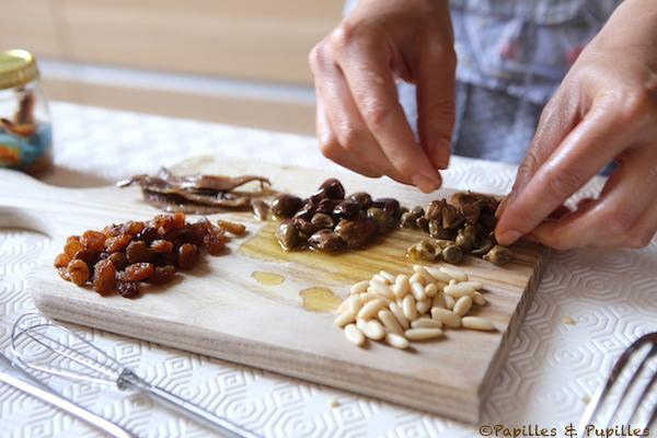 Ingrédients pour les scaroles à la Napolitaine