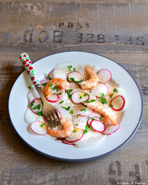 Salade aux 2 radis et crevettes roses
