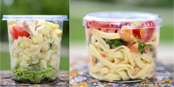 Salades poulet pommes de terre tomates et salades pâtes coppa tomates