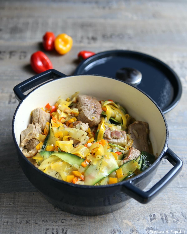 Sauté de veau aux tagliatelles de courgettes et poivrons