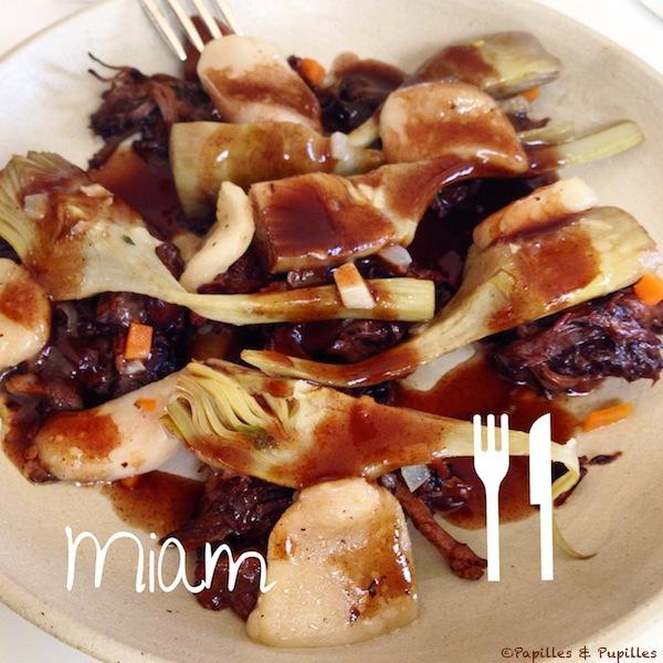 Artichaut poivrade à la queue de bœuf de Bazas, sauce bordelaise