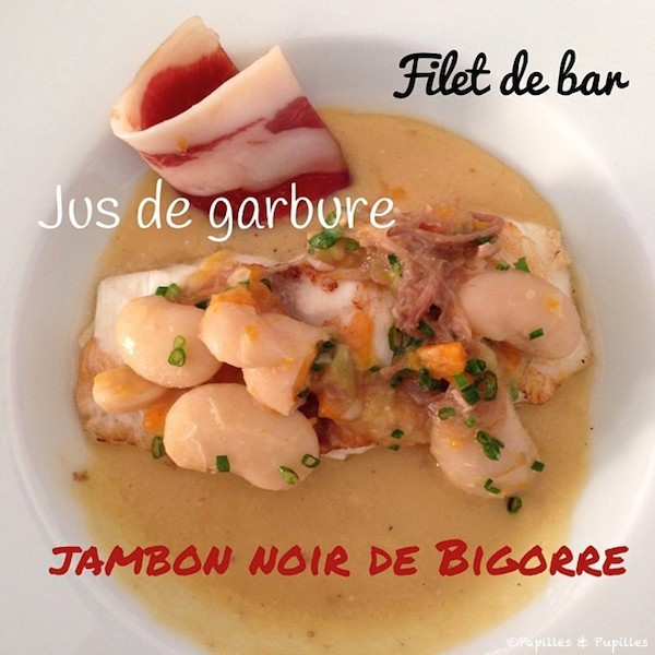 Filet de bar, jus de garbure, jambon noir de Bigorre