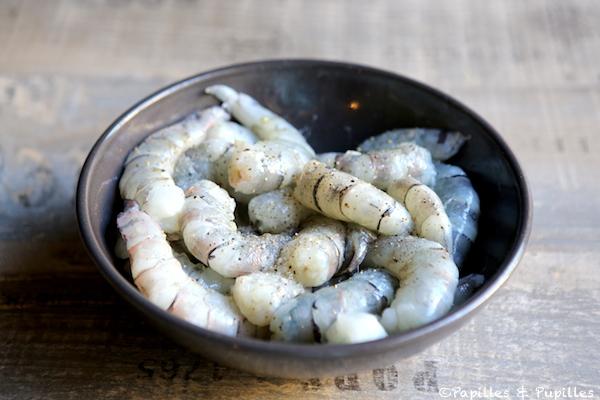 Crevettes crues citron vert sel et poivre