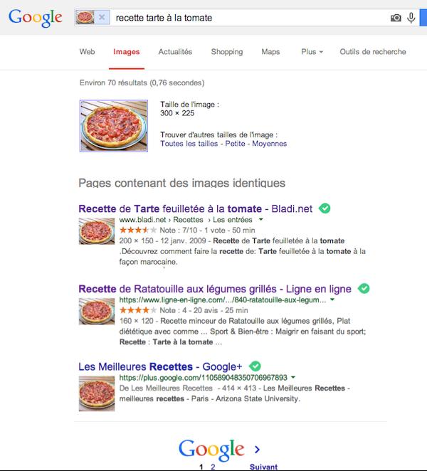 Recherche d'image Google - Tarte à la tomate