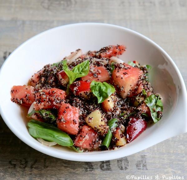 Salade de quinoa, basilic, pastèque et nectarine