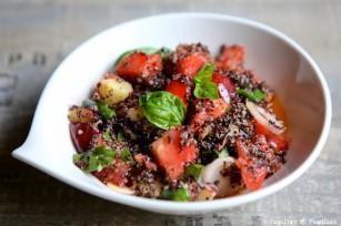 Salade de quinoa, pastèque et basilic