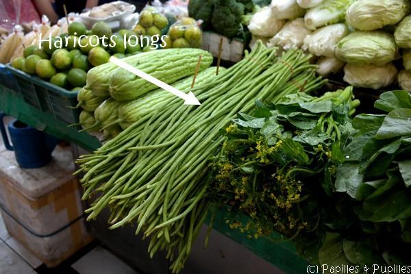 Haricots verts longs, marché, Bangkok