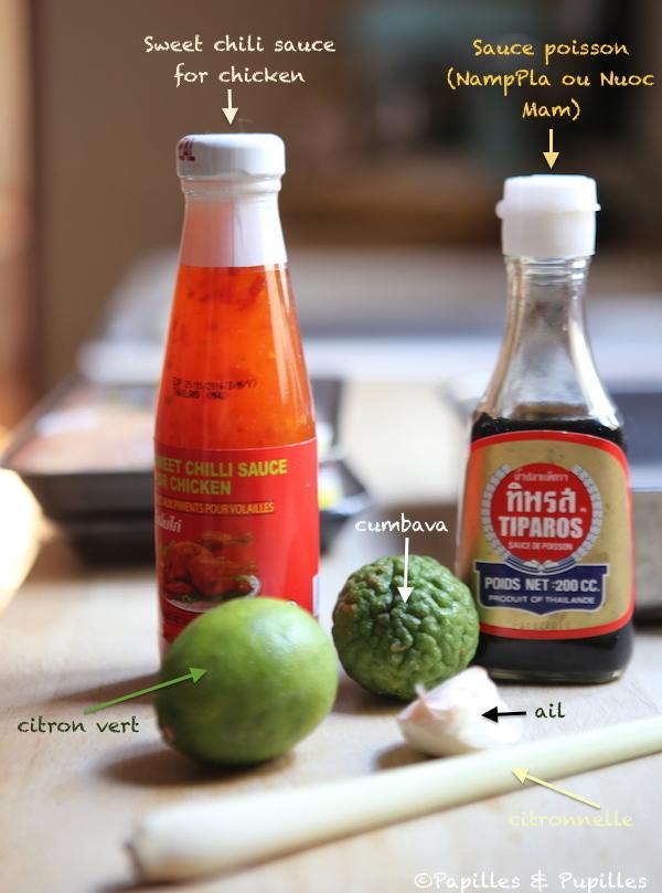Ingrédients pour la sauce pimentée