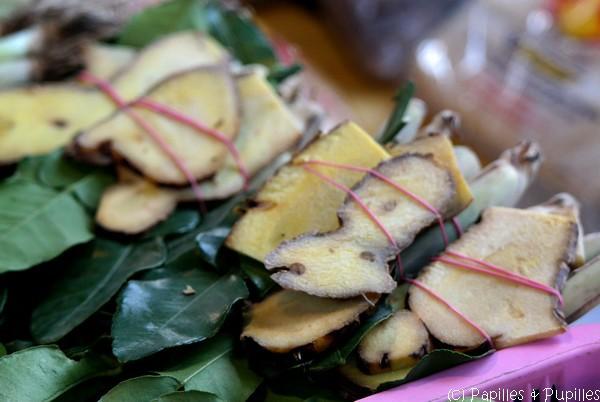 Mélange tout prêt sur le marché de galanga tranché et de feuilles de keffir