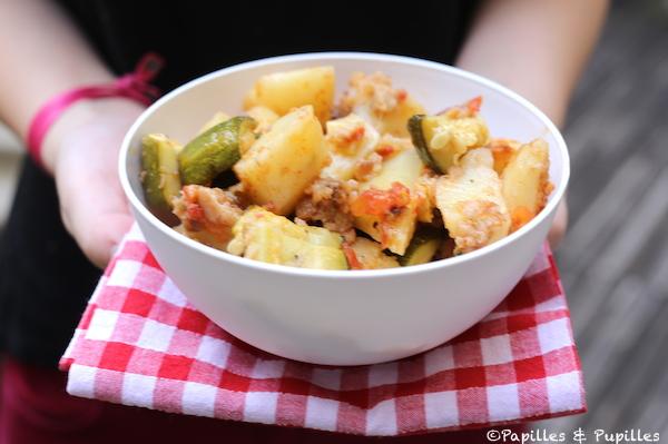 Gratin de courgettes, pommes de terre et tomates