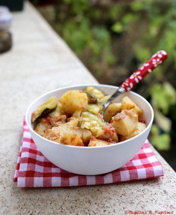 Gratin de pommes de terre, tomates et courgettes