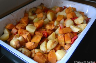 Pommes de terre et patates douces rôties au four