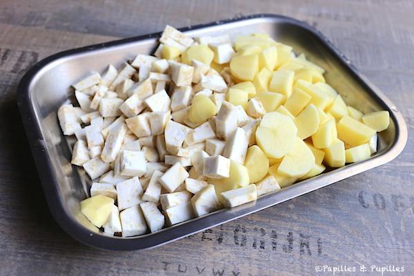 Coupez le céleri et les pommes de terre en dés