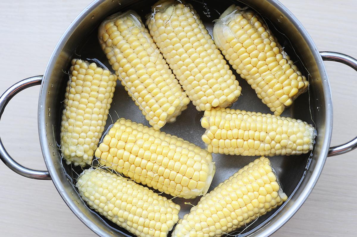 young corn in a saucepan