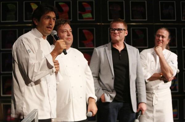 Les 3 chefs australiens avec Heston Blumenthal du Fat Duck