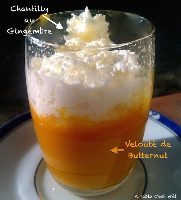 Velouté de butternut et sa chantilly au gingembre