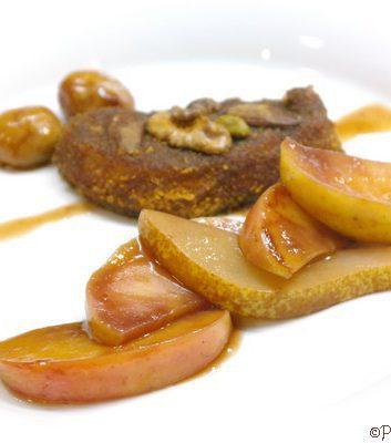 Foie gras pané pommes poires