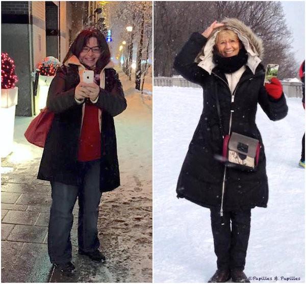 Anne et Mercotte sous la neige