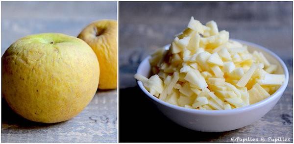 Coupez les pommes en dés