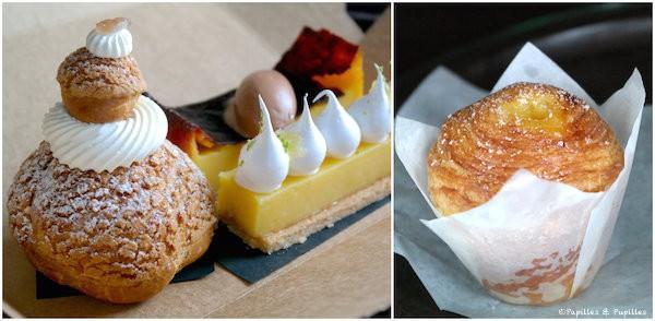 Religieuse à la crème de marrons, tarte citron, flan pâtissier coco et brioche feuilletée au citron - Patisserie Rhubarbe - Montreal